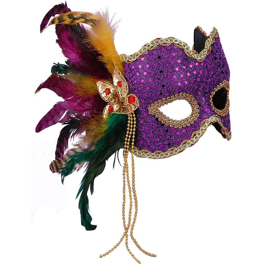 Deluxe Purple And Gold Polka Dot Mardi Gras Carnival Mask With Feather Plume