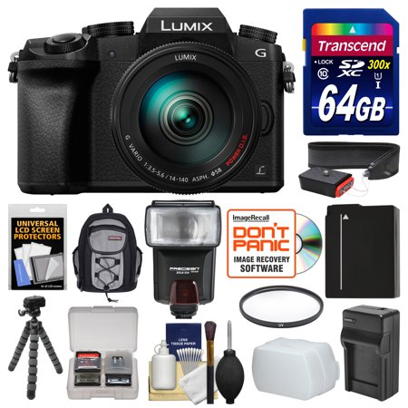 Panasonic Lumix DMC-G7 4K Wi-Fi Digital Camera & 14-140mm Lens with 64GB Card + Backpack + Flash + Battery + Charger + Flex Tripod + Filter + Strap Kit