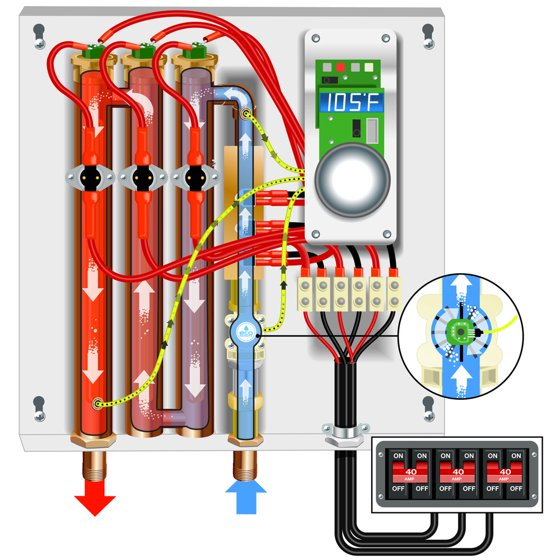ecosmart eco27 240v 27 kw electric tankless water heater - walmart