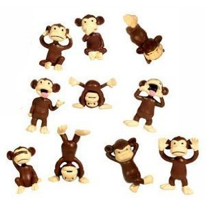 Party Figure - Monkey Figures - Tiny Plastic Monkey Figures - Favors - Lot of 20 by, Monkey Figures - Tiny Plastic Monkey Figures - Party Favors - Lot of 20 By Party