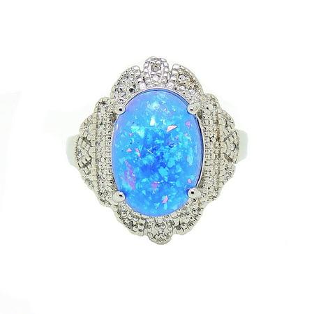Gianna Oval Shape Blue Fire Opal Ring Blue Lab Opal Ring