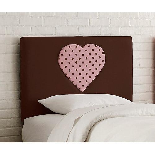 Skyline Furniture Upholstered Heart Headboard, Twin, Choc. Pnk Dot