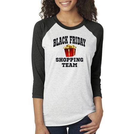 Black Friday Shopping Team Christmas Womens 3/4 Raglan Sleeve T-Shirt Top