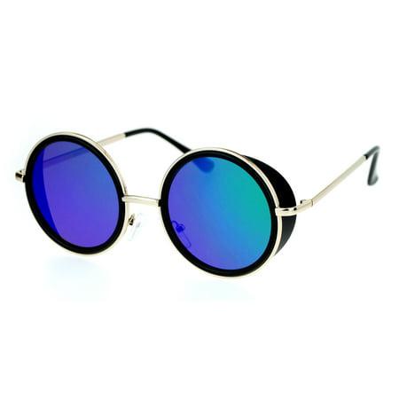 SA106 Side Visor Hippie Round Circle Lens Sunglasses Black Teal - Teal Sunglasses