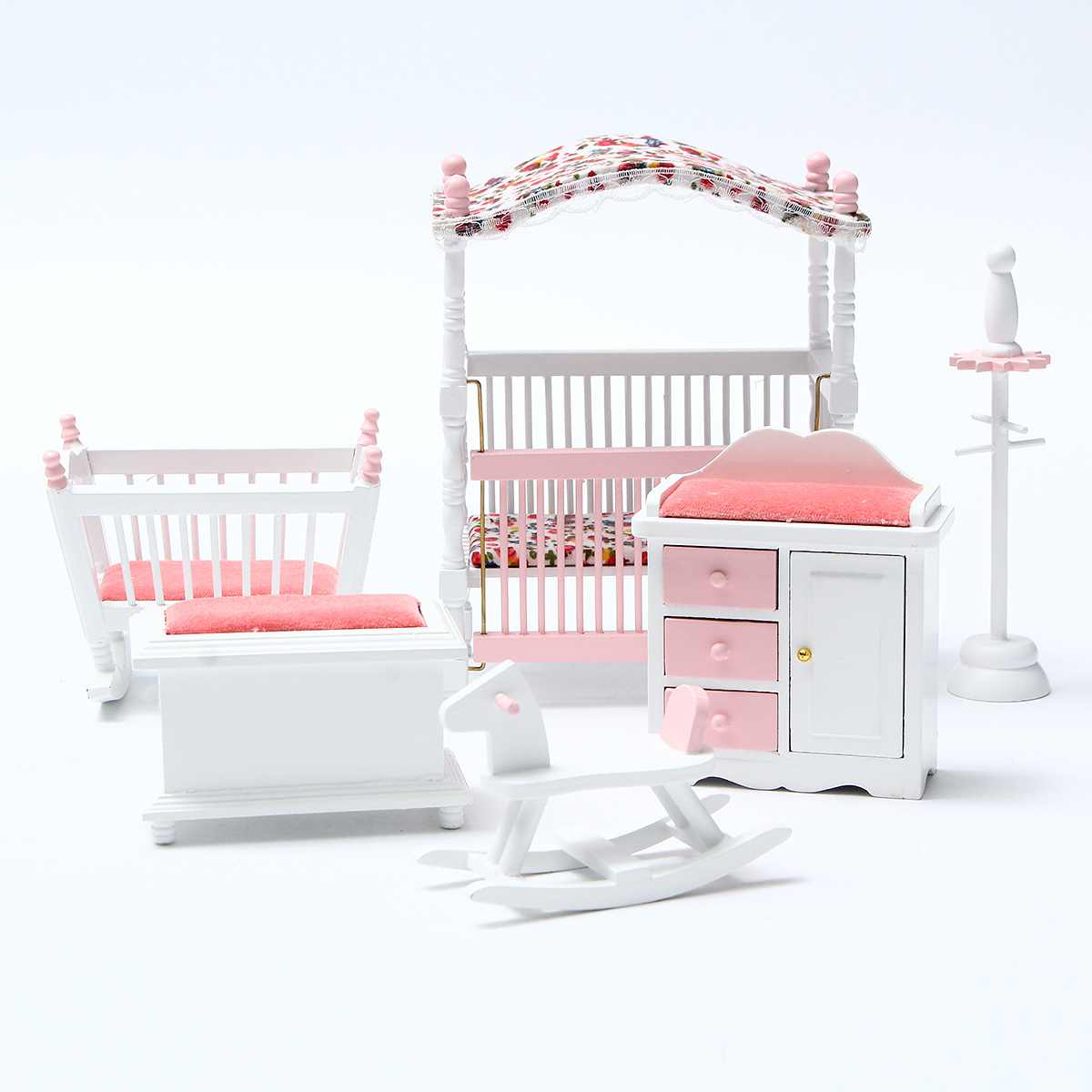 6pcs 1 12 Dollhouse Bedroom Miniature Bedroom Chair Wood European