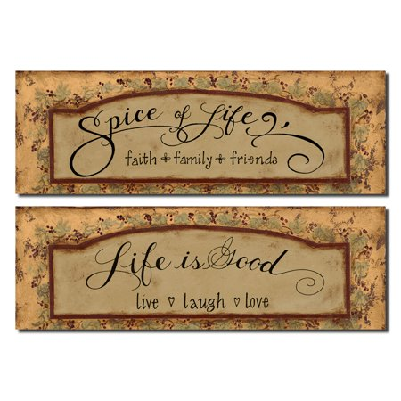 Life Is Good; Live Laugh Love and Faith Family Friends Popular Quotes; Perfect Housewarming Gift; Two 20X8 Poster Prints