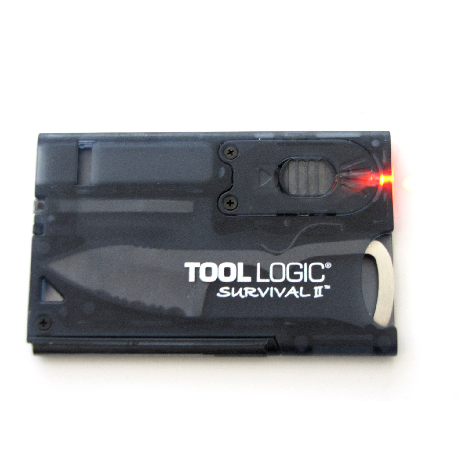 Tool Logic Survival Card with Fire Starter and Light, Charcoal by Sog