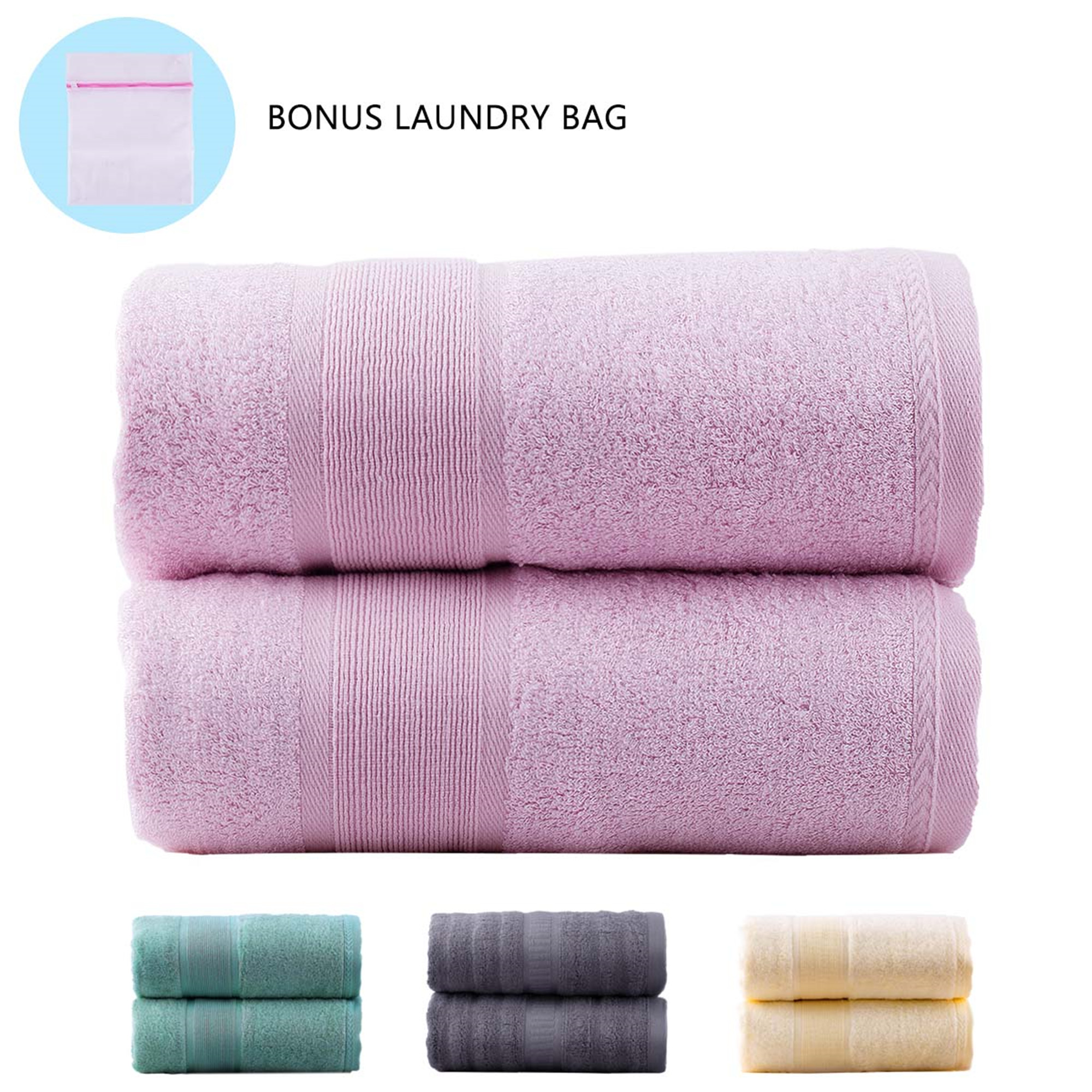 "Soft 2 Pcs Bamboo Cotton Blend Bath Towel Set (27""x55"") Antibacterial & Hypoallergenic, Soft & Absorbent, Odor Free, Skin Friendly(Grey)"