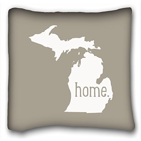 (WinHome Reasonwe Custom Michigan Home State Square Put In Car Seat Patio Bedroom Throw Pillow Case Cases Cover Cushion Covers Sofa Size 20x20 Inches Two Side)