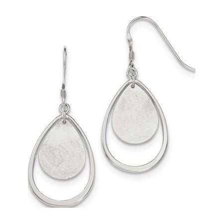 925 Sterling Silver Polished & Textured Teardrop Shepherd Hook (18x43mm) Earrings - image 1 of 2