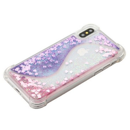 Apple iPhone X Case, by Insten Quicksand Glitter Hard Plastic/Soft TPU Rubber Clear Case Cover For Apple iPhone X, Purple/Pink - image 2 of 5