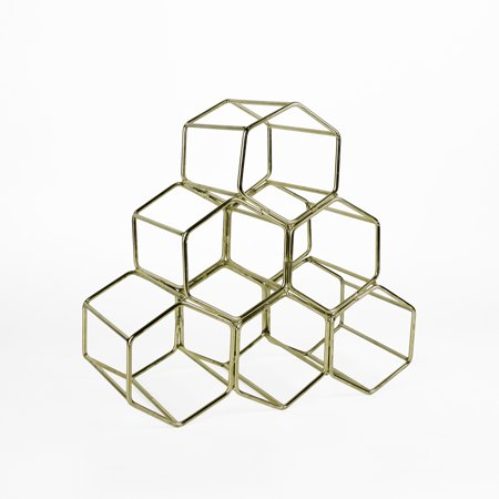 Koyal Wholesale Modern Metal Brass Geometric Wine Rack, 12.5-inch 6 Bottle Wine Glass Rack Stand, Table Top, Countertop ()