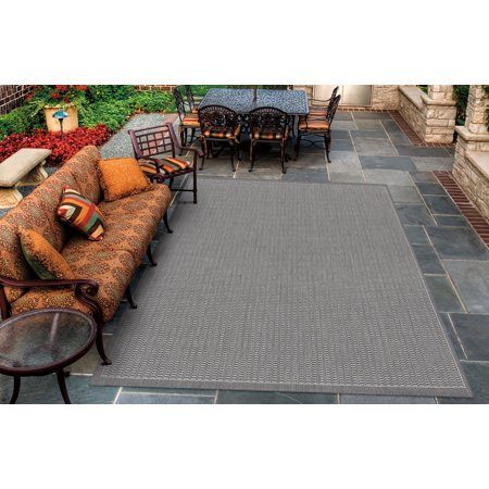 Couristan Black Saddle Stitch - Couristan Recife Saddle Stitch Rug, Grey/White