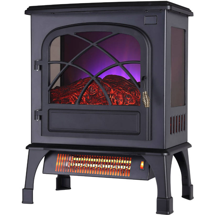 Warm Living Portable Infrared Quartz Home 3-Side Glass Fireplace Stove Heater