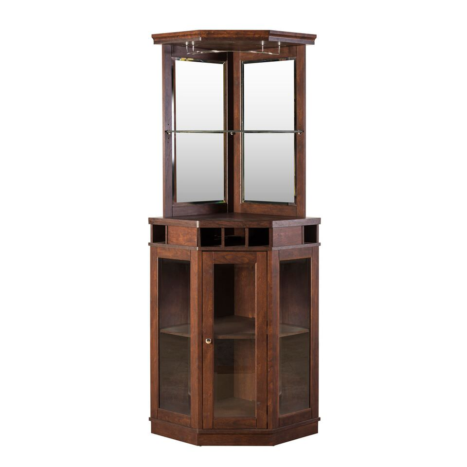 Home Source Corner Bar Unit, Mahogany