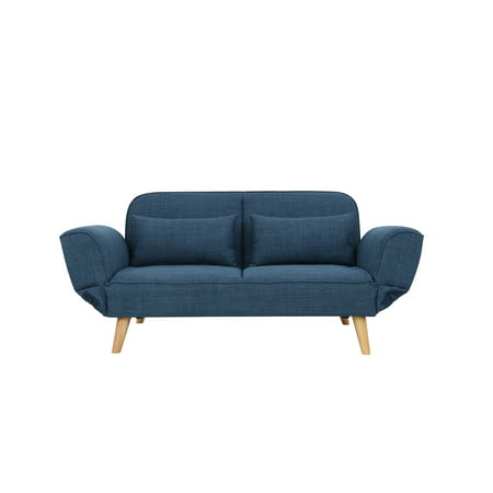 Magari Furniture MF040BU Modern Living Room Couch Fabric Upholstered  Convertible Sleeper Sofa Bed Futon, Indigo Blue
