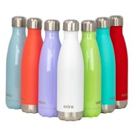 MIRA 17 Oz Stainless Steel Vacuum Insulated Water Bottle   Leak-proof Double Walled Cola Shape Bottle   Keeps Drinks Cold for 24 hours & Hot for 12 hours   17 Oz (500 ml)   Hawaiian Blue