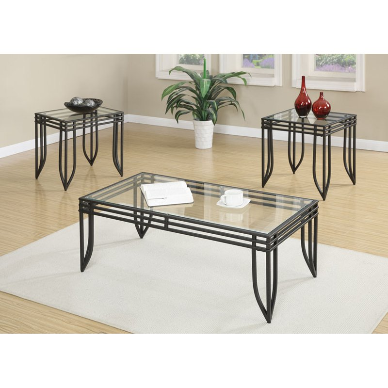Endeavor Set-Cocktail & 2 End Tables-With Glass Top-Metal Base-Finish:Black,Quantity:3 Piece