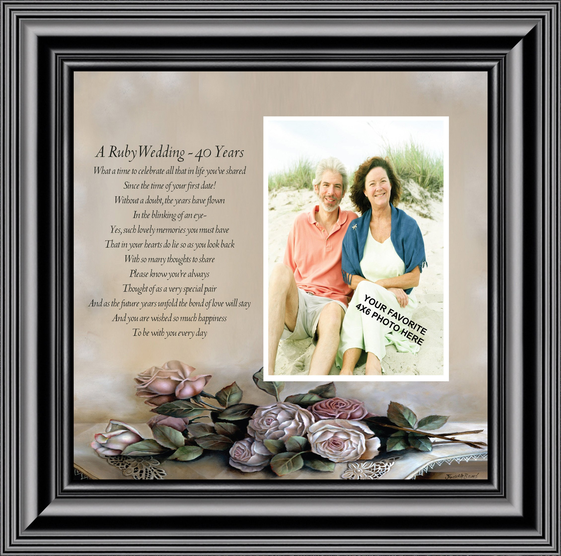Ruby Anniversary, Personalized Picture Frame for 40th Wedding Anniversary, 10x10 6776 - Walmart.com