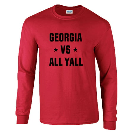 College Football Mens Georgia Vs All Yall Adult Long Sleeve (Sleeve Football Tee)