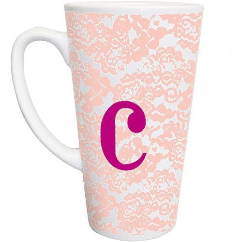 Personalized Pink Lace Latte Mug
