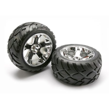 Traxxas 5576R Anaconda Tires Pre-Glued on All-Star Chrome Wheels (pair)