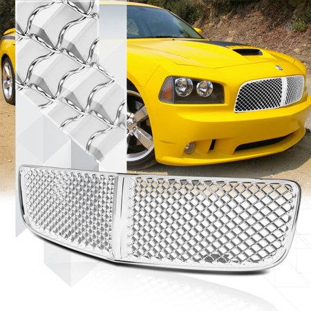 - Glossy Chrome 3D Wave Mesh Front Bumper Grille/Grill for 06-10 Dodge Charger LX 07 08 09