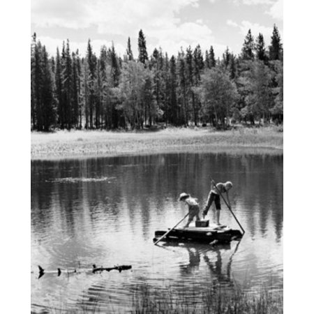Two children rowing a wooden raft Stretched Canvas -  (24 x - Raft Rowing Frame