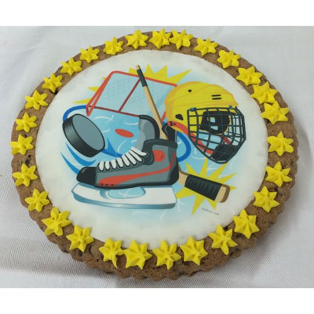 Pleasing Giant Hockey Themed Cookie Cake Decorated Usa Delivery Personalised Birthday Cards Veneteletsinfo