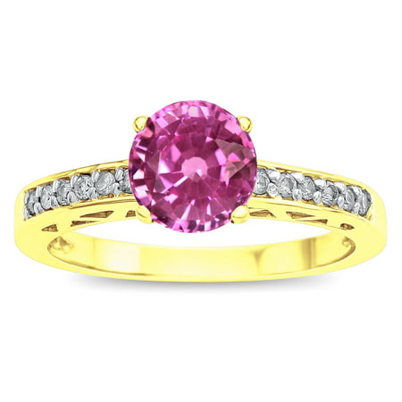 Star K Round 7mm Created Pink Sapphire Channel Set Engagement Promise Ring