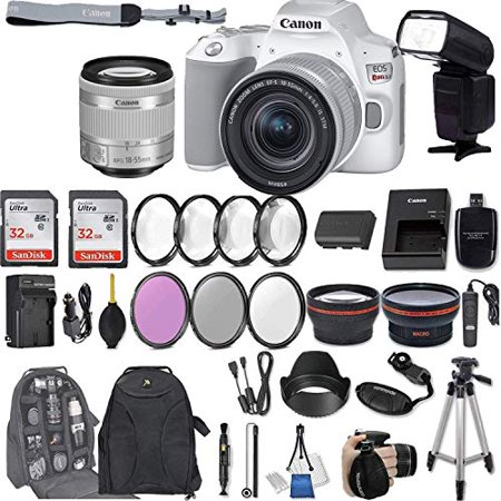Canon EOS Rebel SL3 (White) DSLR Camera with EF-S 18-55mm f/4-5.6 is STM Lens + 2Pcs 32GB Sandisk SD Memory + Digital Flash + Filter & Macro Kits + Backpack + 50