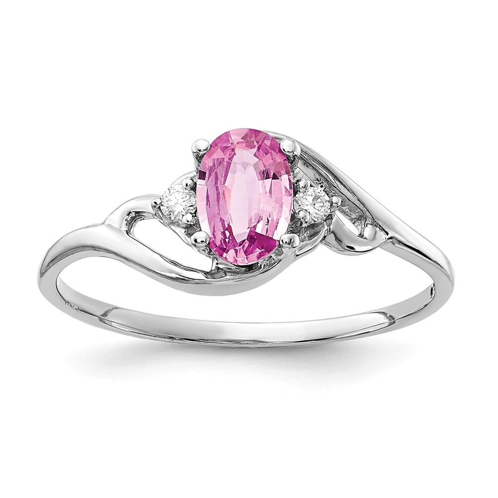 14k White Gold Oval 6x4mm Pink Sapphire & H-I SI2 Diamond Gemstone Ring 0.636ct