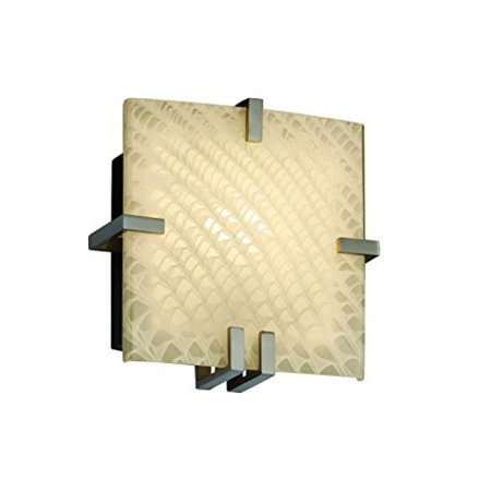 Justice Design Group Lighting FSN-5550-WEVE-NCKL Fusion Clips Wall Sconce, Brushed Nickel Justice Design Group Clips