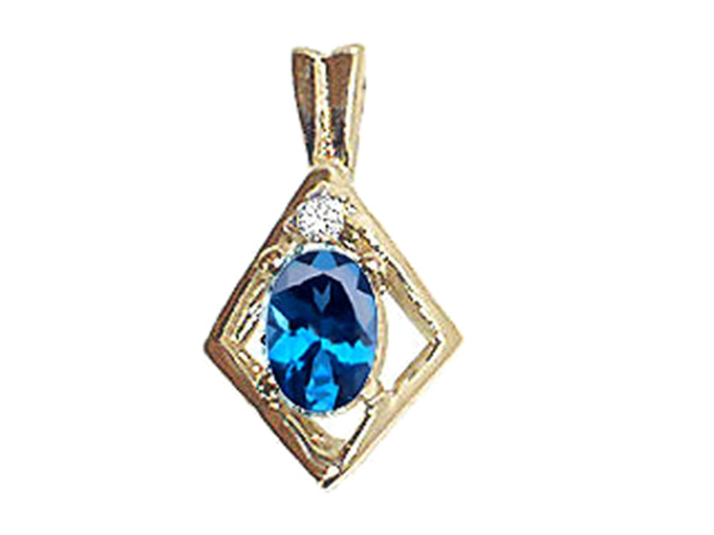 Tommaso Design Oval 6x4mm Genuine Blue Topaz Pendant Necklace by