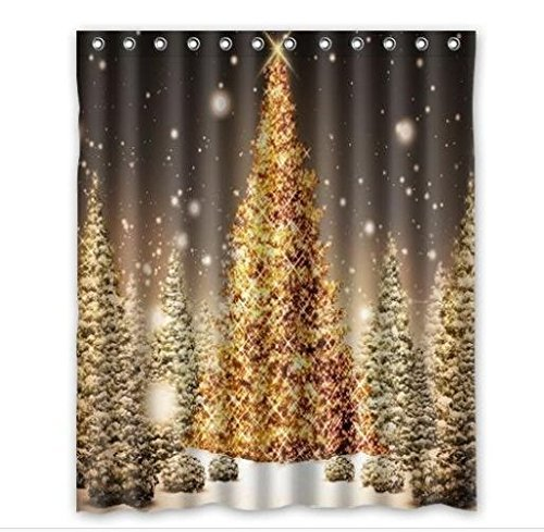 GreenDecor Merry Christmas Tree Waterproof Shower Curtain Set with Hooks Bathroom Accessories Size 66x72 inches