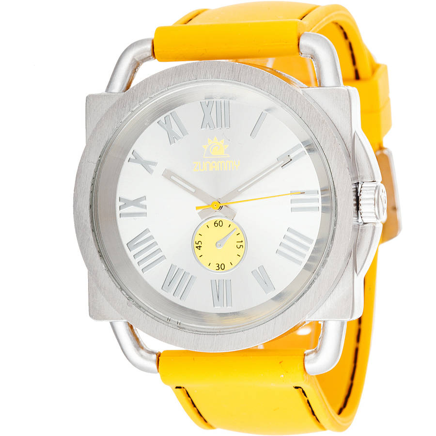 Zunammy Fashion Watch, Yellow Rubber Strap