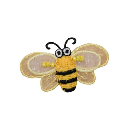 Small Layered Yellow Bumble Bee - 3-D Wings - Iron on Applique/Embroidered Patch (Bee Wings)