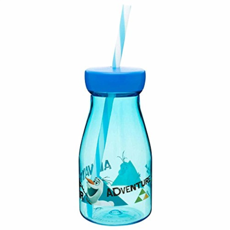 Zak Designs Tritan Milk Bottle with Screw-on Lid and Straw featuring Olaf from Frozen, Break-resistant and BPA-free plastic, 12