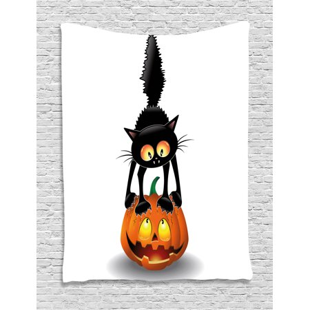 Halloween Tapestry, Black Cat on Pumpkin Drawing Spooky Cartoon Characters Halloween Humor Art, Wall Hanging for Bedroom Living Room Dorm Decor, Orange Black, by Ambesonne (Halloween Pumpkins Black Cat)