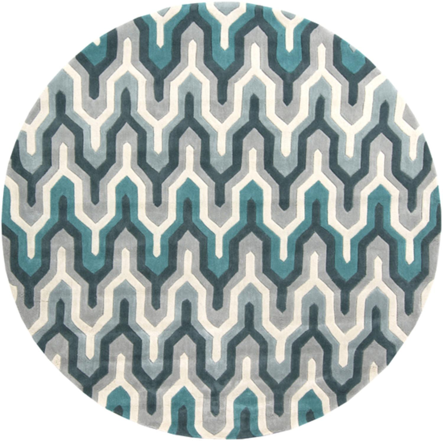 8' Egyptian Tefnut Teal Blue and Gray Hand Round Tufted Area Throw Rug