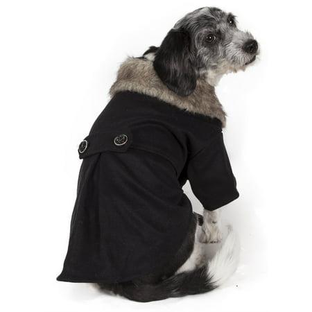Buttoned Coast Guard Fashion Faux Fur Collared Wool Pet Coat