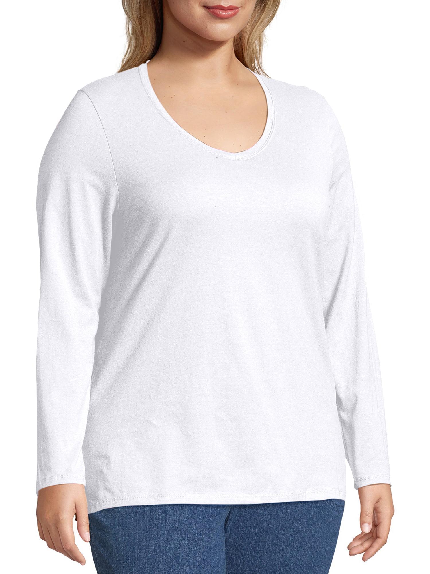 JXJHK Large Size Womens Shirt V-Neck Shirt Long Sleeve Loose Printed Womens T-Shirt