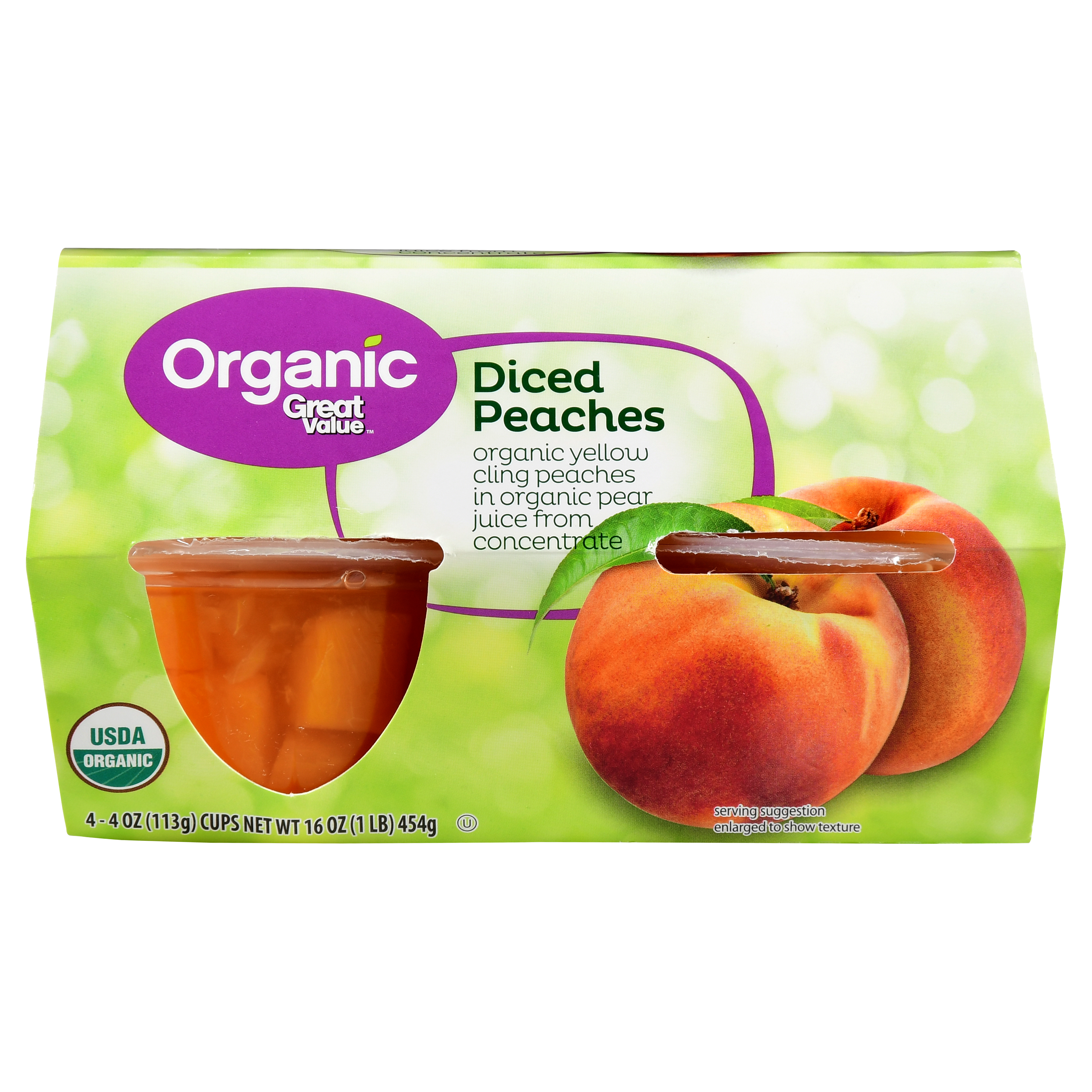 Great Value Organic Diced Peaches, 16 oz, 4 Count