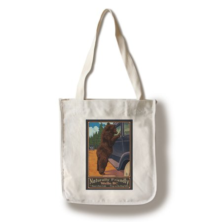 Wells, BC - Don't Feed the Bears - Lantern Press Poster (100% Cotton Tote Bag - Reusable) ()