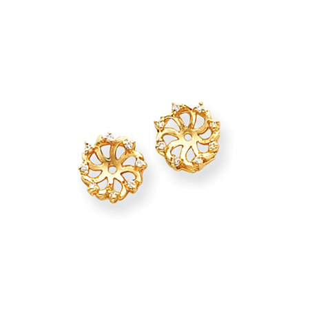 14K Yellow Gold Diamond Pinwheel Circle Of Love Earring Jackets   0 058Cttw