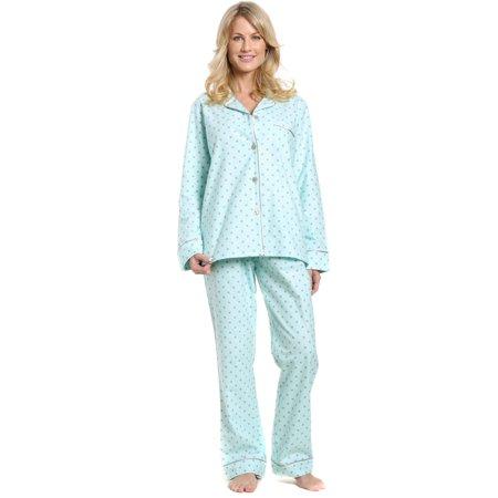 cd9ecf1cd0 Noble Mount - Noble Mount Womens Premium 100% Cotton Flannel Pajama  Sleepwear Set - Walmart.com