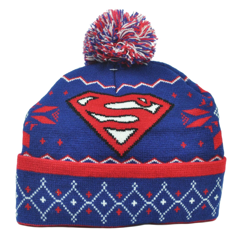 6f3ca3b7334 ... australia dc comics superman knit beanie cuffed pom pom super hero hat  toque blue book 3f958