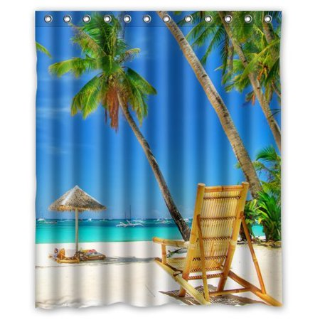 GreenDecor Beach Palm Tree Waterproof Shower Curtain Set with Hooks Bathroom Accessories Size 60x72 -