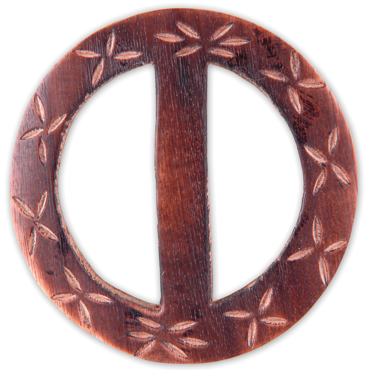 Vision Trims Handmade Wood Buckle-Carved Flowers Circle 2-1/2""