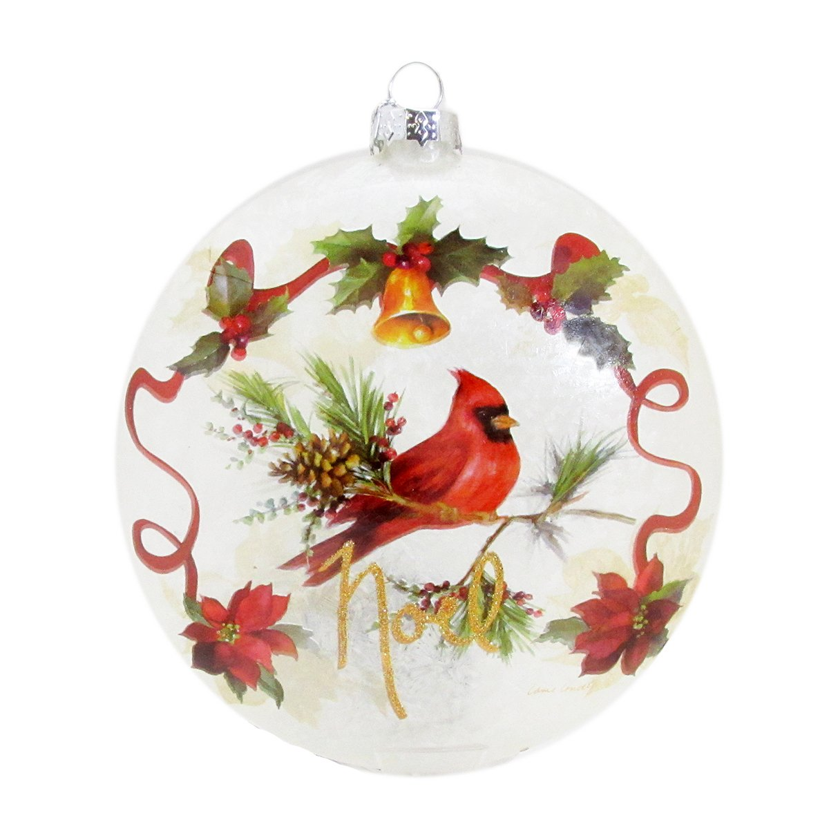 Copy of Stony Creek 5'' Round Glass Holiday Ornament Winter Bells and Poinsettias LLX7252-A